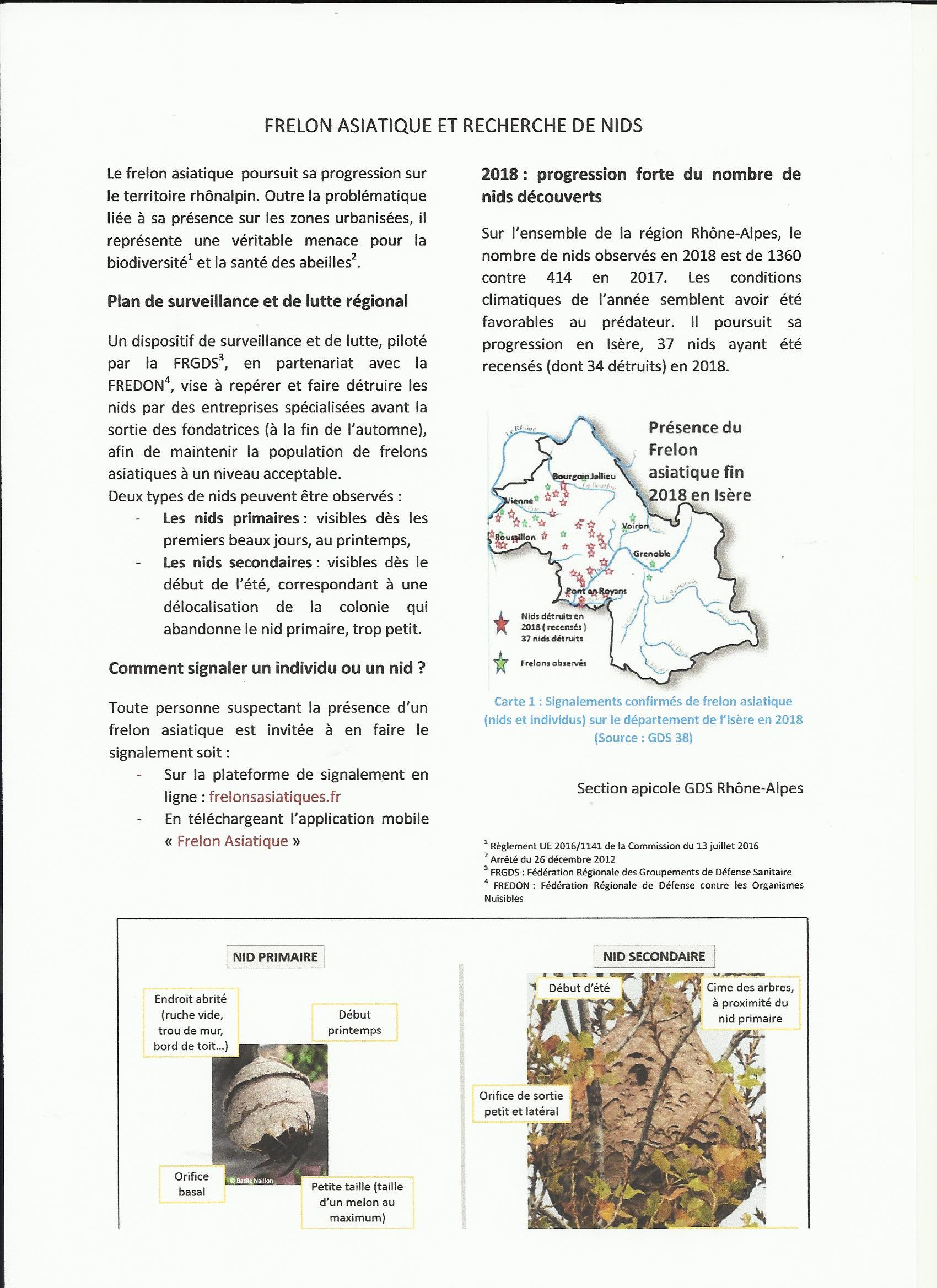 La lutte contre le frelon asiatique 38-2019