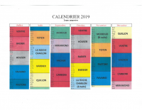 Calendrier 2ème semestre 2019